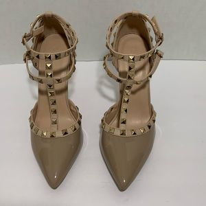 New Tan Studded Heels